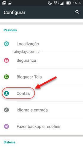 configurações pessoais Contas Android