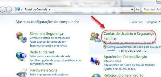 Contas de usuário e segurança familiar Windows 7