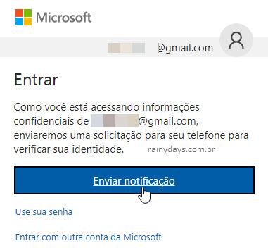 Enviar notificação conta Microsoft sem senha