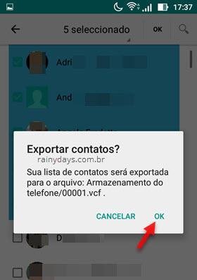 fazer backup de contatos do  Android para dispositivo 2