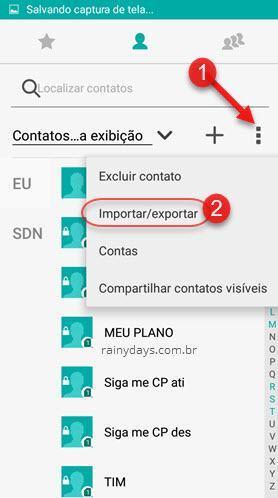 ícone de três bolinhas importar exportar contatos do Android