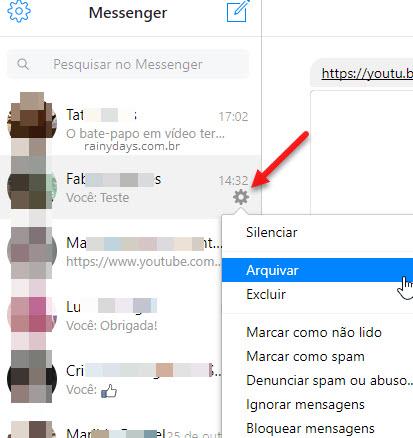 ícone engrenagem contato Messenger web