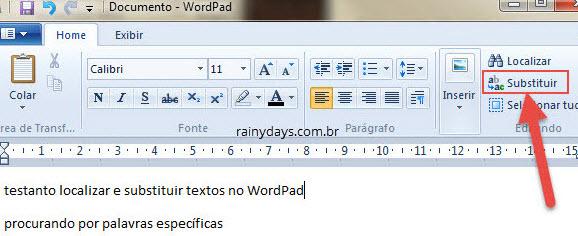 Opção para Localizar e substituir no Wordpad