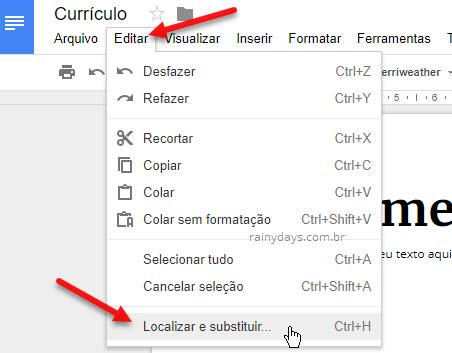 Como localizar e substituir palavras no Google Docs