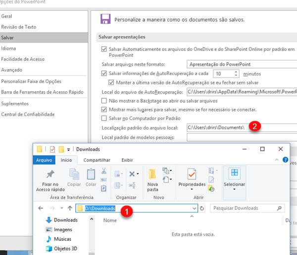 Mudar pasta padrão para salvar documentos do Power Point, Word e Excel