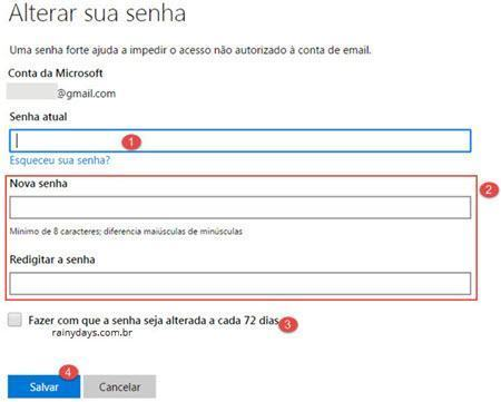 mudar senha do Outlook 4