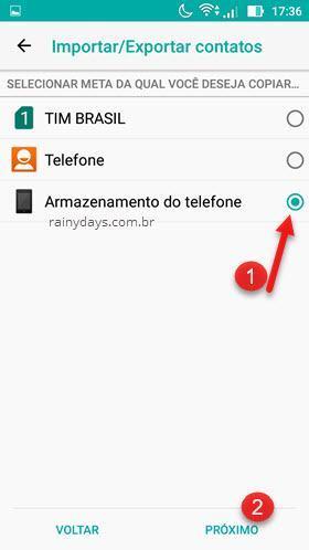 selecionar destino para salvar contatos Android