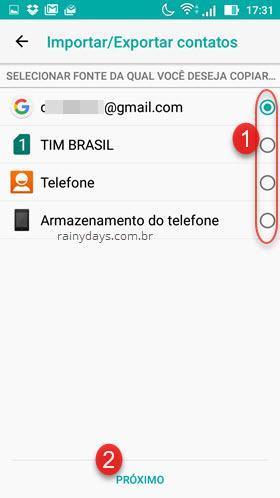 selecionar fonte de contatos para backup Android