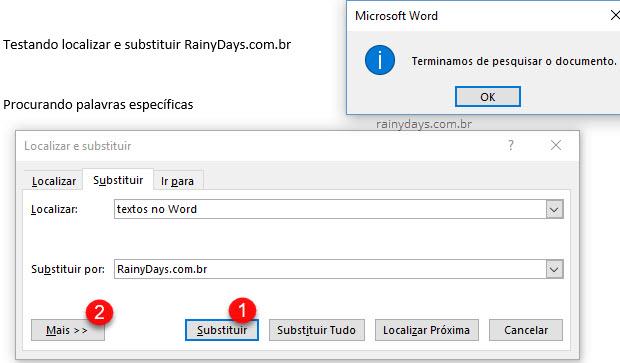 Botão para Substituir frases e palavras no Office Word, terminamos de pesquisar