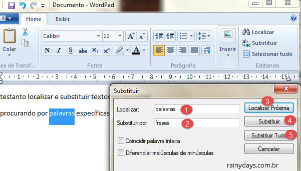 Janlea para substituir palavras e frases no Wordpad