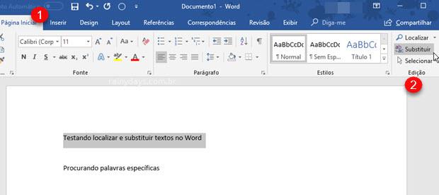 Opção no menu para substituir palavras no Word, Excel e PowerPoint