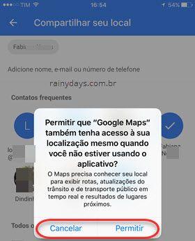 Permitir Google Maps acesse local sempre iOS