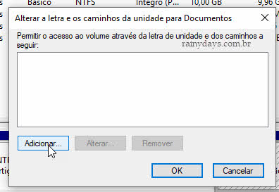 Adicionar letra ao drive ou partição escondida do Windows