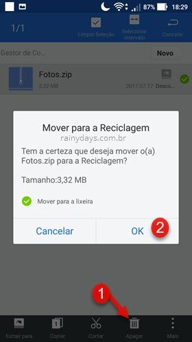 apagar arquivo zip no Android ES File Explorer