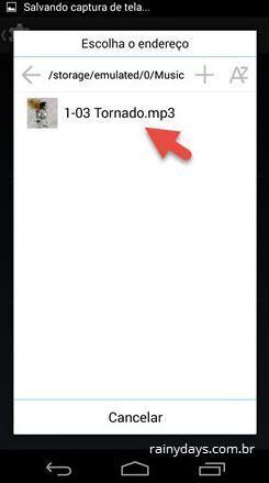 arquivo mp3 no gerenciador ES File Explorer