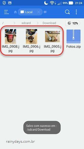 arquivo zipado extraído com ES File Explorer Android