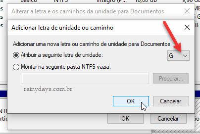 Atribuir letra de unidade ao drive partição no Windows