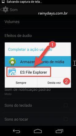 completar ação usando ES File Explorer áudio Android