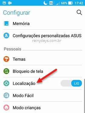 configurações Localização do Android