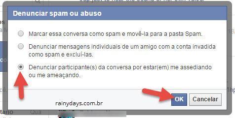 denunciar spam ou abuso no Facebook