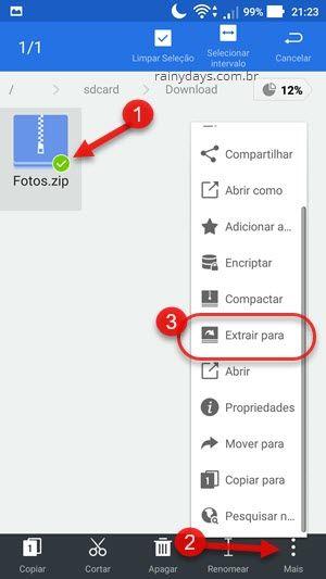 extrair arquivo compactado no Android