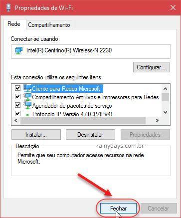 Fechar Propriedades de Wi-Fi Windows