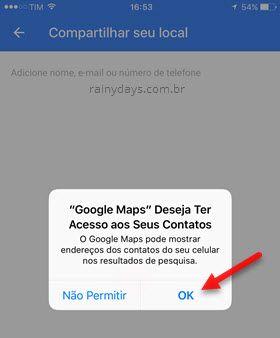Google Maps deseja acessar contatos iOS