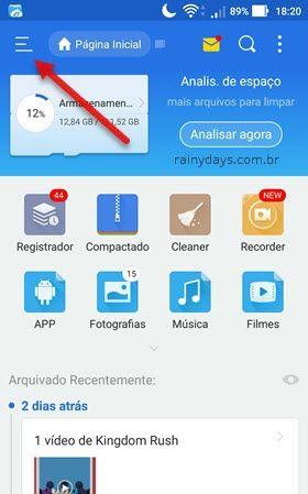 ícone de três traços ES File Explorer