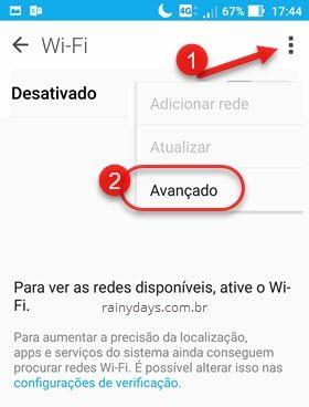 ícone três quadradinhos Avançado Wifi Android