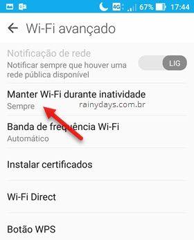 Manter wifi ativo durante inatividade Android