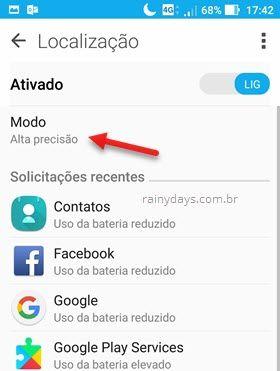 modo alta precisão localização Android