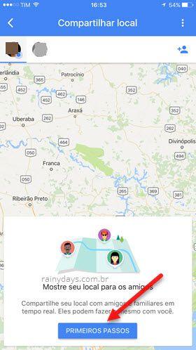 mostrar seu local para amigos Google Maps app