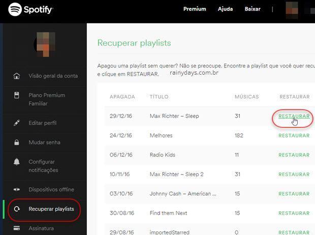 Recuperar playslist apagadas do Spotify