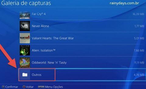 transferir fotos do PS4 para o pendrive 3