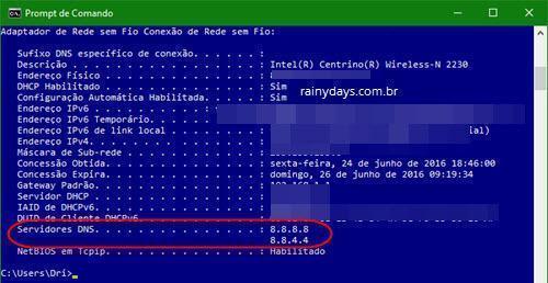 ver qual DNS estou usando 1