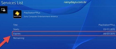 ver quanto tempo falta para PS Plus expirar 7