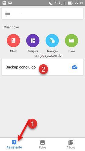 assistente Google Fotos backup concluído
