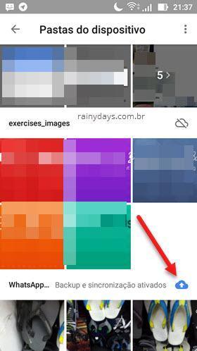 Backup e sincronização ativados pasta Google Fotos