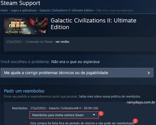 devolver jogo no Steam e pedir reembolso