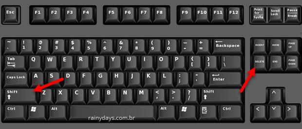Excluir arquivo apertar Shift Del teclado Windows