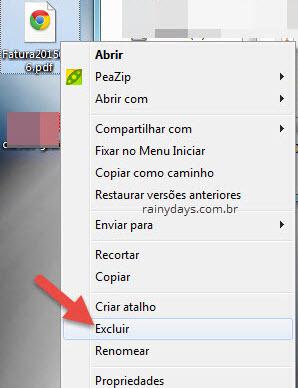 excluir arquivo menu de contexto do Windows