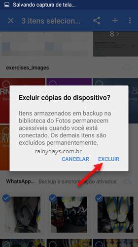 Excluir cópias do dispositivo com Google Fotos
