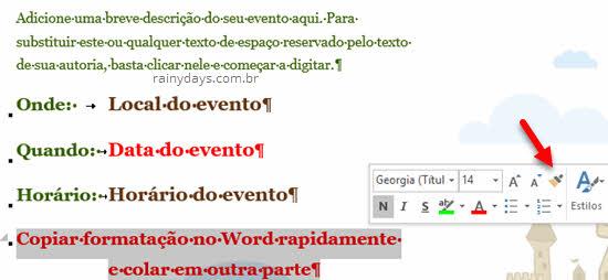Outra maneira de usar pincel formatação Word