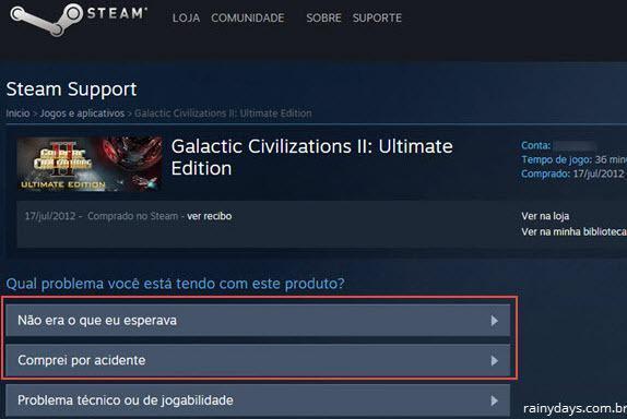 pedir reembolso de jogo no Steam