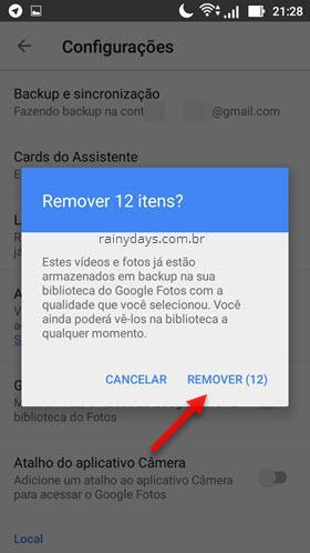 Remover fotos do dispositivo com Google Fotos