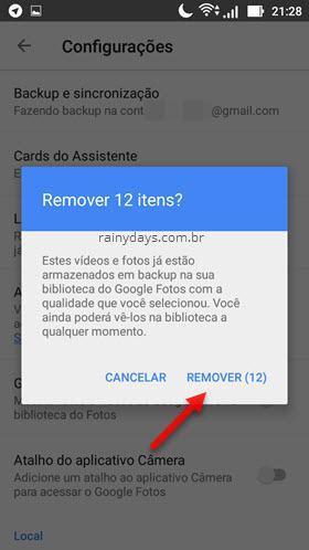 Remover fotos do dispositivo com Google Fotos