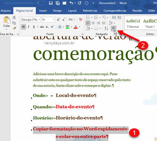 Selecionar texto e mostrar marcas de parágrafo e símbolos Word