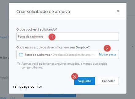 Como solicitar arquivos no Dropbox 2
