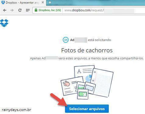 Como solicitar arquivos no Dropbox 4