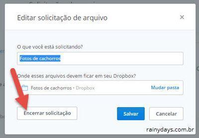 Como solicitar arquivos no Dropbox 8
